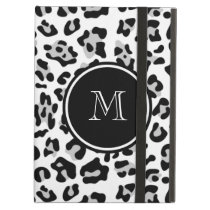 Gray Black Leopard Animal Print with Monogram Case For iPad Air