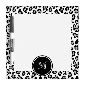 Gray Black Leopard Animal Print with Monogram Dry Erase Board