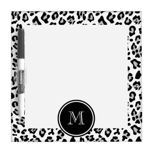 Gray Black Leopard Animal Print with Monogram Dry-Erase Board
