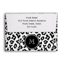 Gray Black Leopard Animal Print with Monogram Envelope