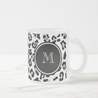 Gray Black Leopard Animal Print with Monogram Frosted Glass Coffee Mug