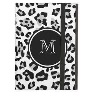 Gray Black Leopard Animal Print with Monogram iPad Air Cover