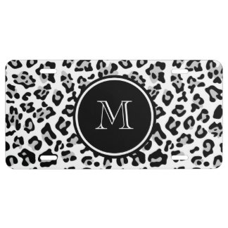 Gray Black Leopard Animal Print with Monogram License Plate