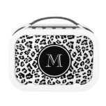 Gray Black Leopard Animal Print with Monogram Yubo Lunch Box