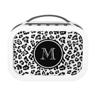 Gray Black Leopard Animal Print with Monogram Lunchbox