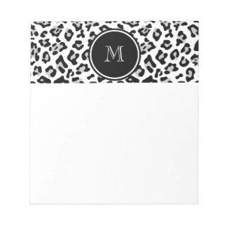 Gray Black Leopard Animal Print with Monogram Memo Notepads