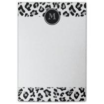 Gray Black Leopard Animal Print with Monogram Post-it Notes