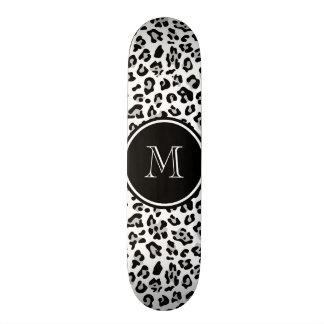 Gray Black Leopard Animal Print with Monogram Skate Board Deck