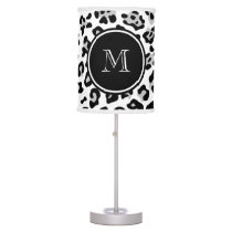 Gray Black Leopard Animal Print with Monogram Table Lamp