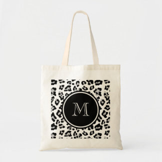 Gray Black Leopard Animal Print with Monogram Tote Bag