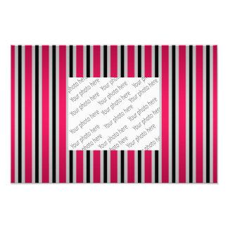 Gray black magenta pink stripes photo print
