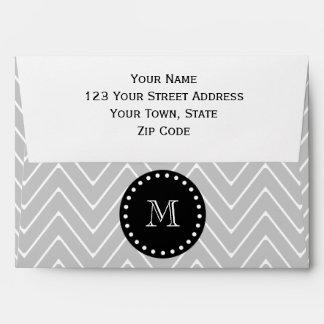 Gray & Black Modern Chevron Custom Monogram Envelope