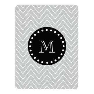 Gray & Black Modern Chevron Custom Monogram 6.5x8.75 Paper Invitation Card