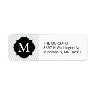 Gray & Black Modern Chevron Custom Monogram Label
