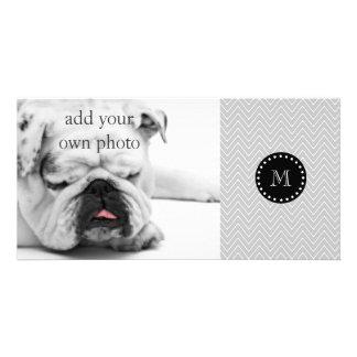 Gray & Black Modern Chevron Custom Monogram Photo Card