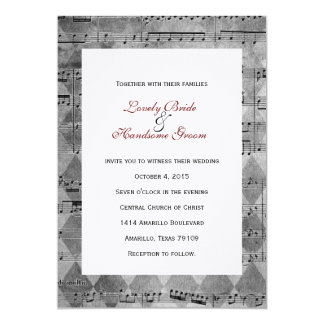 Gray Black Music Chevron Wedding Invitation