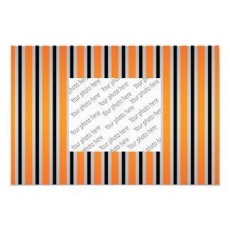 Gray black orange stripes photo print