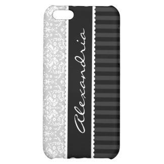 Gray & Black Personalized Damask iPhone 4 Case