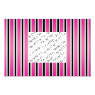 Gray black pink stripes photographic print