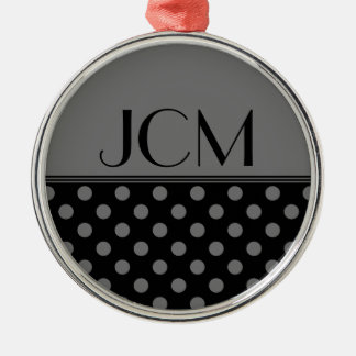 Gray/Black Polka Dot Monogram Round Metal Christmas Ornament