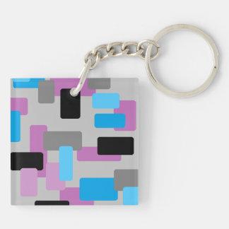 Gray Black Purple and Blue Keychain