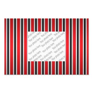 Gray black red stripes photo print