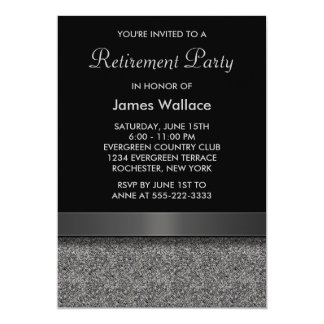 Gray Black Retirement Party Card
