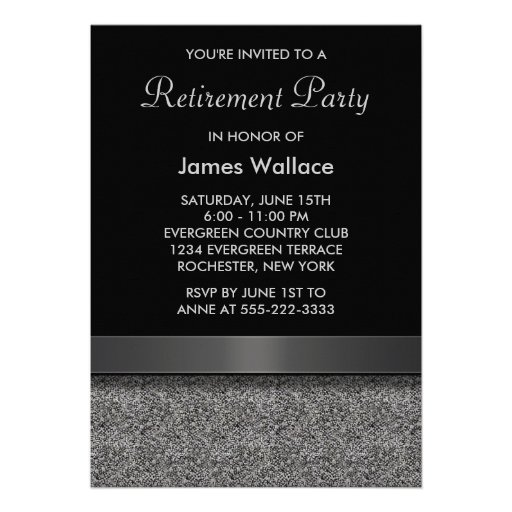 Gray Black Retirement Party Personalized Announcement