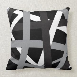 GRAY BLACK STRIPES DESIGN Retro Throw Pillow