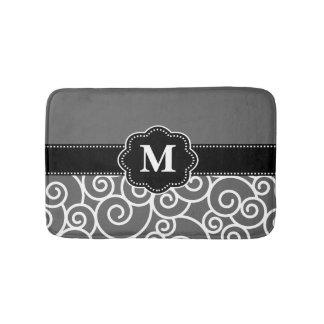 Gray Black Swirls Monogram Bathmat
