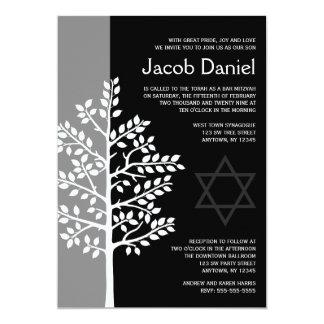 "Gray Black Tree of Life Bar Mitzvah Invitations 5"" X 7"" Invitation Card"