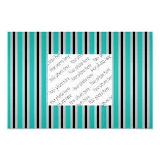 Gray black turquoise stripes photo print