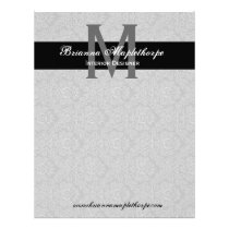 Gray Black White Damask Monogram Letterhead