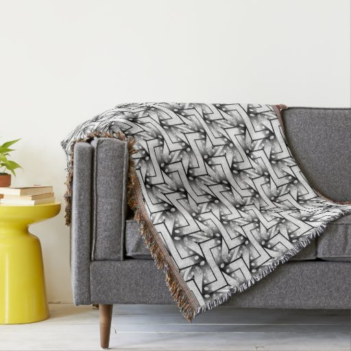 Gray Black White Geometric Pattern NoColor #4 Throw Blanket