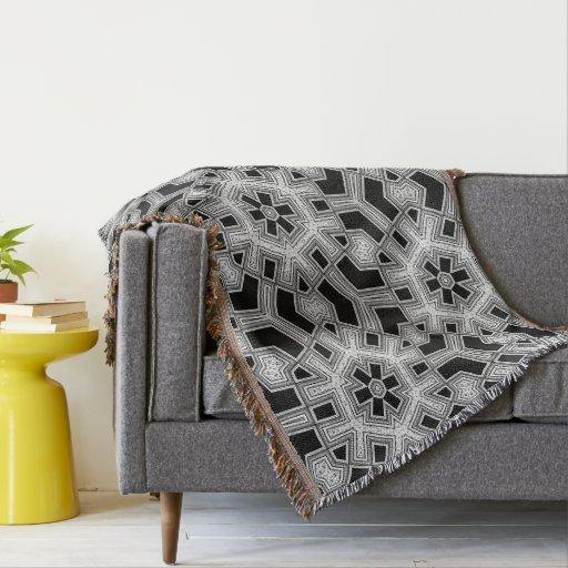 Gray Black White Geometric Pattern NoColor #9 Throw Blanket
