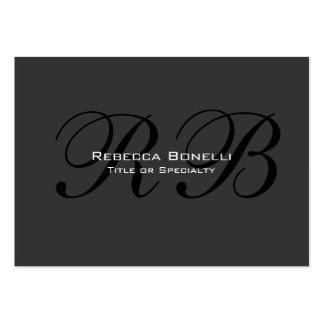 Gray Black White Monogram Chubby Business Card