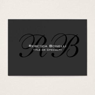 Gray Black White Monogram Chubby Business Card