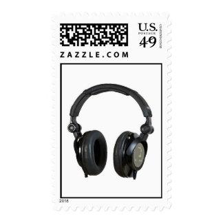 Gray Black White Pop Art Headphone Stamps