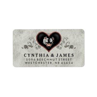 Gray Black & White Skeletons Heart Wedding Address