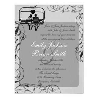 Gray black white ski lift custom wedding invites