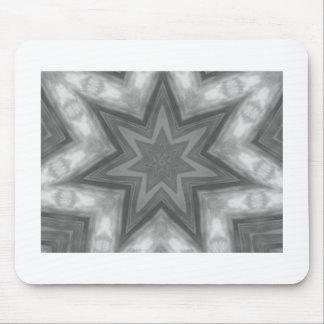 Gray, black & white star kaleidoscope pattern mouse pad