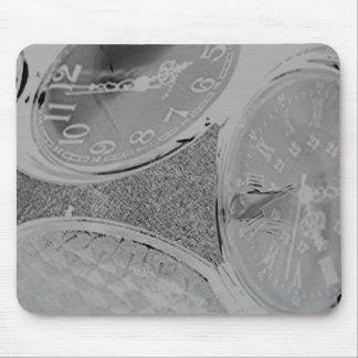 Gray Black White Steampunk Clocks Digital Art Mouse Pad
