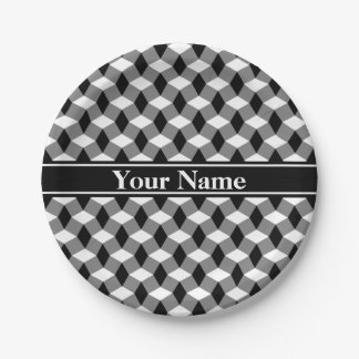 Gray/Black/White Wavy Pattern Paper Plate 7 Inch Paper Plate