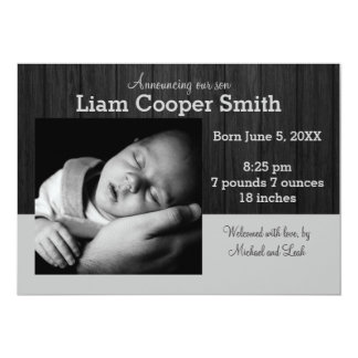 Gray/Black Wood with Photo - Birth Announcement