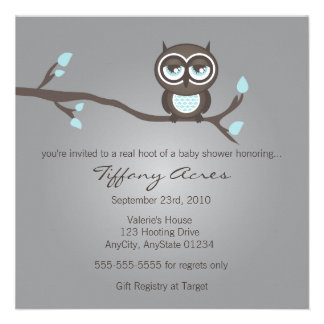 Gray, Blue and Brown Owl Invitation