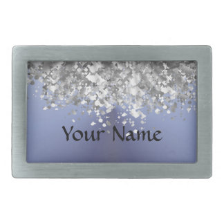 Gray blue and faux glitter belt buckle