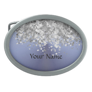 Gray blue and faux glitter oval belt buckle