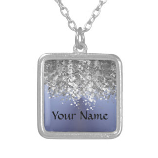 Gray blue and faux glitter square pendant necklace