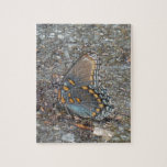 Gray Blue and orange butterfly camo Puzzles