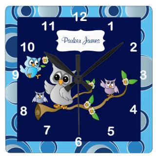 Gray & Blue Baby Owl | Nursery Design Square Wall Clock